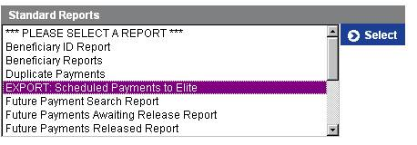 Export Scheduled Payments to Elite